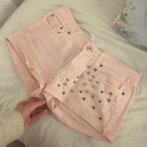 Baby pink gold denim shorts